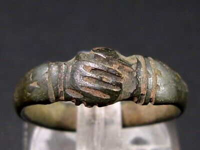 Rare Gorgeous Roman Bronze Clasped Hands Ring, As Found+++