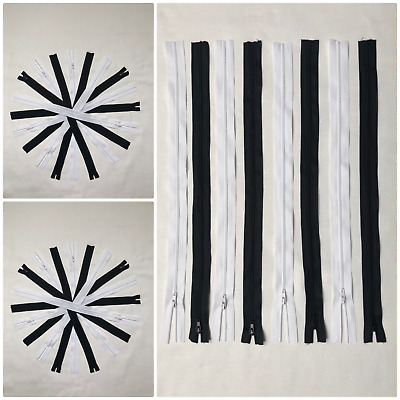 "No.3 OPEN END 16"" - 40"" NYLON ZIPS  *IN BLACK AND WHITE COLOURS*  ZIPPER SEWING"