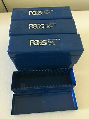 Official PCGS Certified Coin Slab Holder Plastic Storage Blue Boxes 4