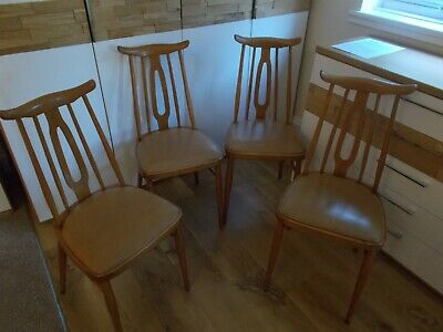 Vintage 60's Dining Chairs Blond wood Tan Vinyl Mid-Century Ercol Cowhorn style