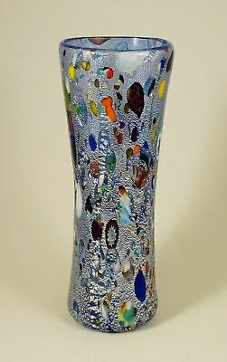 New Murano Murrine Gorgeous Uniflor Blue Vase Art Glass Murano Island Venice