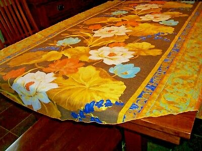 Vntg Soft Cotton Blnd Big Floral Yellow Orange Blue Tablecloth Table Cover~68X70