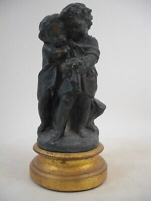 Putti Cherub Statue Gold Gilt Plinth Victorian French European Style