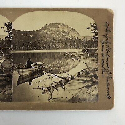 Stereoview SV Card NH Echo Lake New Hampshire Boat Nature stereoscopic
