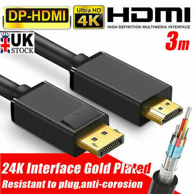 3M 4K Display Port Dp To Hdmi Male Cable For Lcd Pc Laptop Av Cable Adaptor Uk