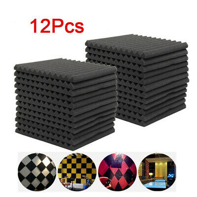 UK 12Pcs Acoustic Panels Tiles Studio Sound Cell Foam Proofing Insulation Closed