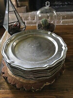 "(8) Crown Castle Ltd. ""Pewter"" Alloy Plates 10"" (~9.75"") Made in USA"