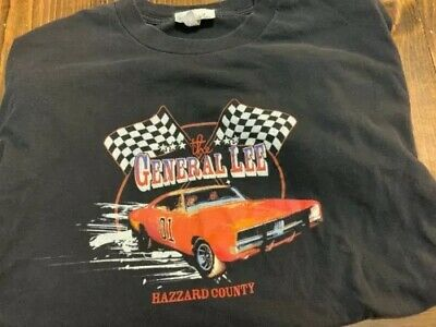 Vintage The General Lee Dodge Charger Dukes Hazzard County Blk T Shirt Adult L