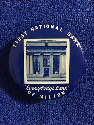 Antique First National Bank of Milton Advertising Celluloid Pocket Dime Bank