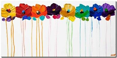 Colorful flowers abstract painting on canvas palette knife painting Osnat