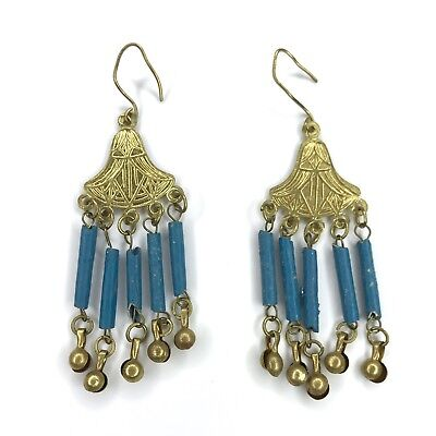 Antique Egyptian Faience Mummy Beads Earrings Dangles Art Deco Vtg Revival