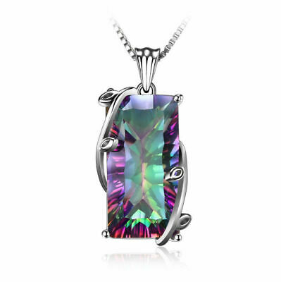 2019 Woman Silver Plated Rainbow Mystical Topaz Gemstone Silver Necklace Pendant