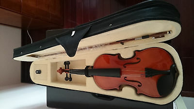 Student Acoustic Violin Full 3/4 Maple Spruce with Case Bow Rosin Wood Color