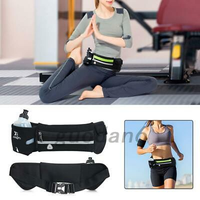 Running Belt With Water Bottle Waist Pack Zipper Pockets for Runner Sports UK