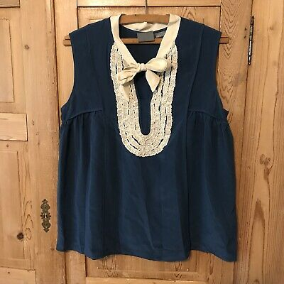 Girls From Savoy Silk Sleeveless Lace Tie Blouse Blue Sz 6