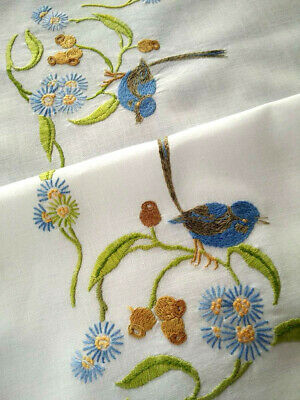 Australian Blue Fairy Wren & Gum Nuts/Leaves Vintage Hand Embriodered Tablecloth