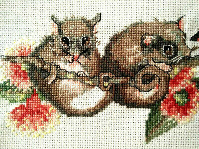 Completed Ring-Tail Possum Family/ Red Gum Tree  Vintage Hand Cross-stitch Panel