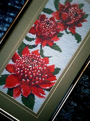 SALE** Australian Wild Flowers Red Waratahs ~ Vintage Needlepoint Framed Picture