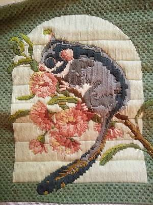 Completed Australian Possum ~ Vintage Hand Made/Long Stitch Panel