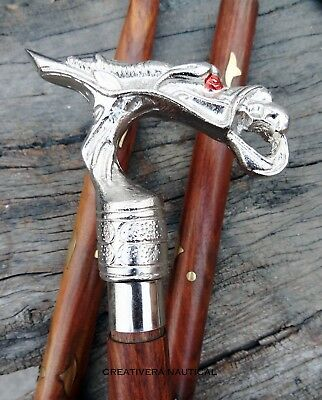 Victorian Styel dragon Handle Walking Cane Stick Vintage Wooden Handmade Canes