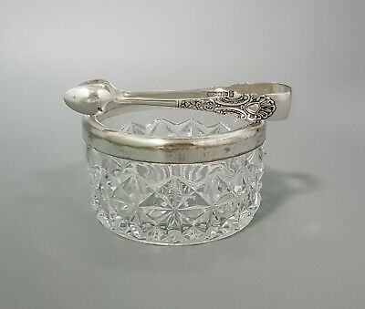 Art Deco pressed glass silver plate large sugar candy bowl antique floral tongs