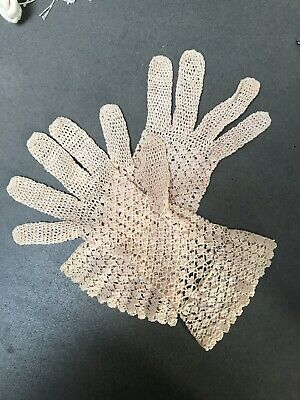 Vintage Ladies' Small Size Hand Crochet Cotton Shell pattern Gloves Beige