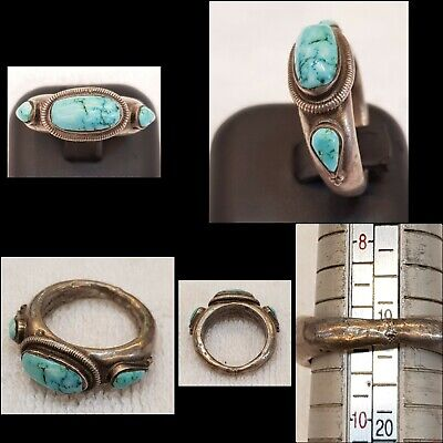 Beautiful Antique Persian Nishapur Turquoise Stone Old Silver Amizing Ring