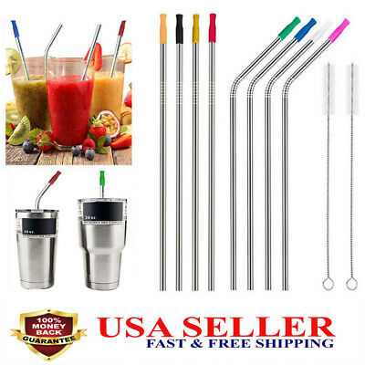 New Long Reusable Stainless Steel Drinking Straws Metal For 30 Oz Yeti Tumbler