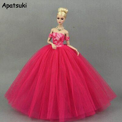 Hot Pink Little Dress Wedding Dresses for Barbie Doll Clothes Party Wears 1/6