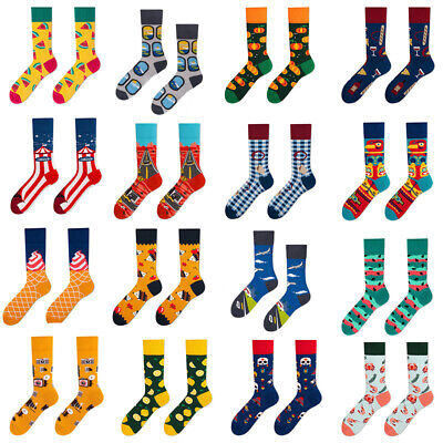 Mens Cotton Socks Novelty Asymmetric Colorful Funny Unisex Dress Socks For Gifts