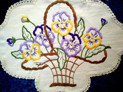 Gorgeous Sweet Pansy/Pansies Basket ~ Vintage Hand Embroidered Centrepiece