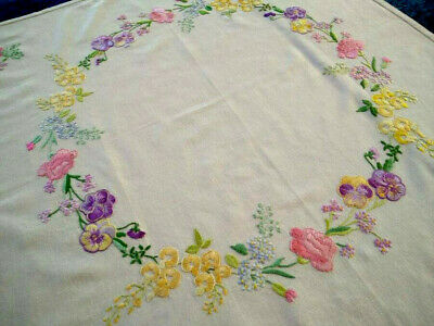 Stunning Flower Circle ~ Pansy/Laburnum/Carnations ~ Vintage Hand Emb Tablecloth