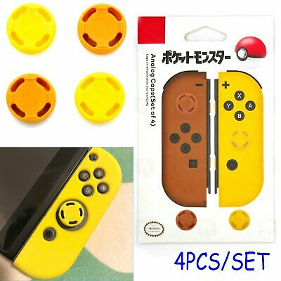 4* Analogue Cap Cover Skins Lets Go Pokemon PIKACHU Yellow for NS Switch Joy-con