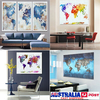 Colourful Art Retro World Map Canvas Prints Painting Wall
