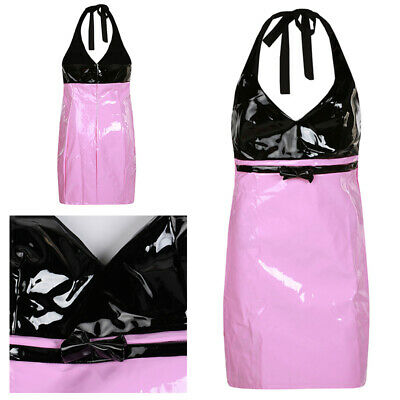 Women Sexy Halter Clubwear Wet Look PVC Leather Cocktail Party Mini Dress S-XL