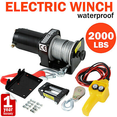 2000LBS Electric Winch Recovery Heavy Duty 12V Remote Control Rope Trailer Truck