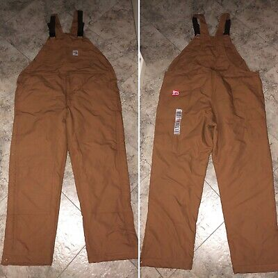 CARHARTT BROWN FLAME RESISTANT FR DUCK BIB OVERALLS UNLINED NWT 44x34