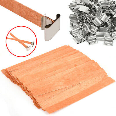 AU 100Pcs Wooden Candle Wicks Core With Iron Stand DIY Soap Making For Party