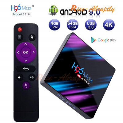 H96 MAX RK3318 Smart TV BOX Android 9.0 4GB 64GB Quad Core 1080p 4K LED screen