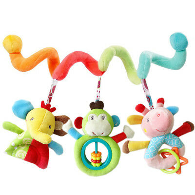Hanging Toys For Car Seat Crib Infant Baby Spiral Plush Rattle Hanging Toy #ZH