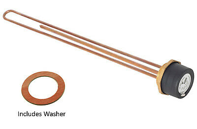 """Tesla 27"""" Copper 3kW hot water Immersion Heater Element 2 1/4"""" Boss + Thermostat"""