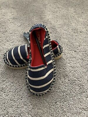 Joules Girls Canvas Blue Striped Shoes Size Uk 8 EU 25 New With Tags