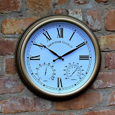 Garden Station Clock Indoor Outdoor Copper effect Temperature Humidity 38cm