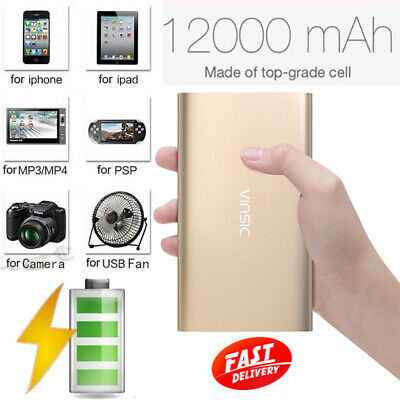 Vinsic 12000mAh  Power Bank 2USB 2.4A Portable External Charger for Mobile Phone
