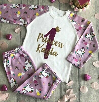 PERSONALISED PRINCESS BIRTHDAY UNICORN PYJAMAS Birthday Number Keepsake PJs Gift