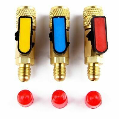Hot 3 Piece Straight Ball Valve Fit Standard Refrigerant Hose Manifold Gauges