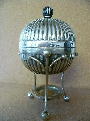 Antique Art Deco Style, Gadrooned Body Silver Plated Egg Coddler. Mappin & Webb