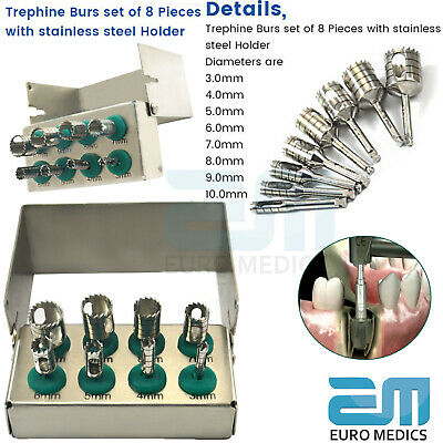 Dental Trephine Implant Drills Surgery Kit 8 Pcs Surgical Instruments Bur Holder