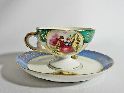 Lovely Vintage Royal Nippon Japan Fine China Harlequin Coffee Duo Cup Saucer