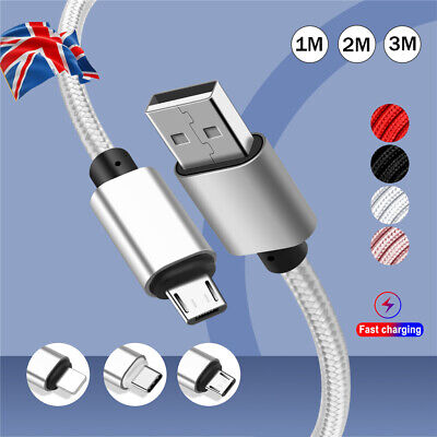 Braided USB Quick Charger Data Charging Cable For iPhone 6s 7 8 Android Micro UK